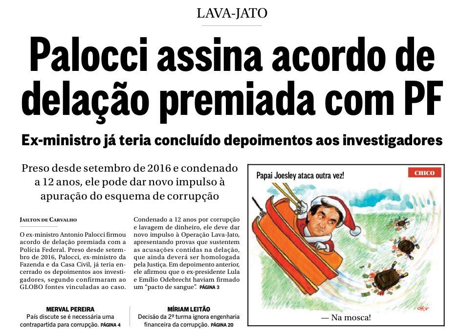 Infos do Globo de que o ex-ministro de Lula e Dilma, Palocci teria enfim assinado com a PF acordo de delação premiada. De acordo com a matéria Lula é o principal alvo. Resta saber se o ex-ministro tbm contou das relações com altos escalões do empresariado/mercado como prometera