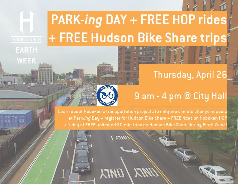 Today FREE HOP rides! Learn about #Hoboken's transportation projects at City Hall 9am-4pm. Register with @hudsonbikeshare &amp; get 1 day of FREE unlimited 30-min trips through 4-27  #EarthWeek  https://www. facebook.com/events/2321428 14222972/ &nbsp; …  @hMAG @hudson_reporter @HobokenPatch @BikeHoboken @CityofHoboken<br>http://pic.twitter.com/AzZdqRy88o