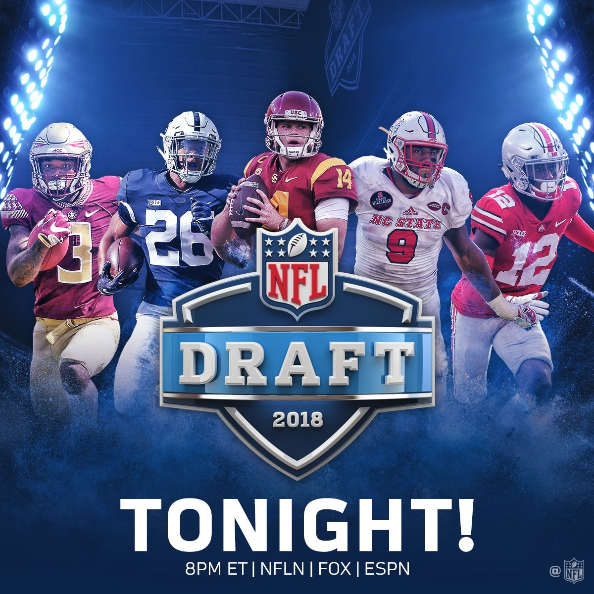 The @NFLDraft is finally here! ��  2018 #NFLDraft: TONIGHT at 8pm ET on NFLN/FOX/ESPN https://t.co/iwYZ3Ruw2t