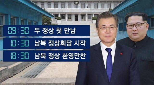 [JTBC 뉴스룸] 내일(27일) 오전 9시 30분…남북 정상 손 맞잡는다 https://t.co/C9CztBJAaA 문 대통령이 군사분계선에서 김정은 위원장 직접 맞이. 회담을 뺀 나머지 일정은 모두 전 세계에 생중계. 우리 정부는 남북정상회담 합의문에 '완전한 비핵화'란 문구를 넣는 방안을 추진 중