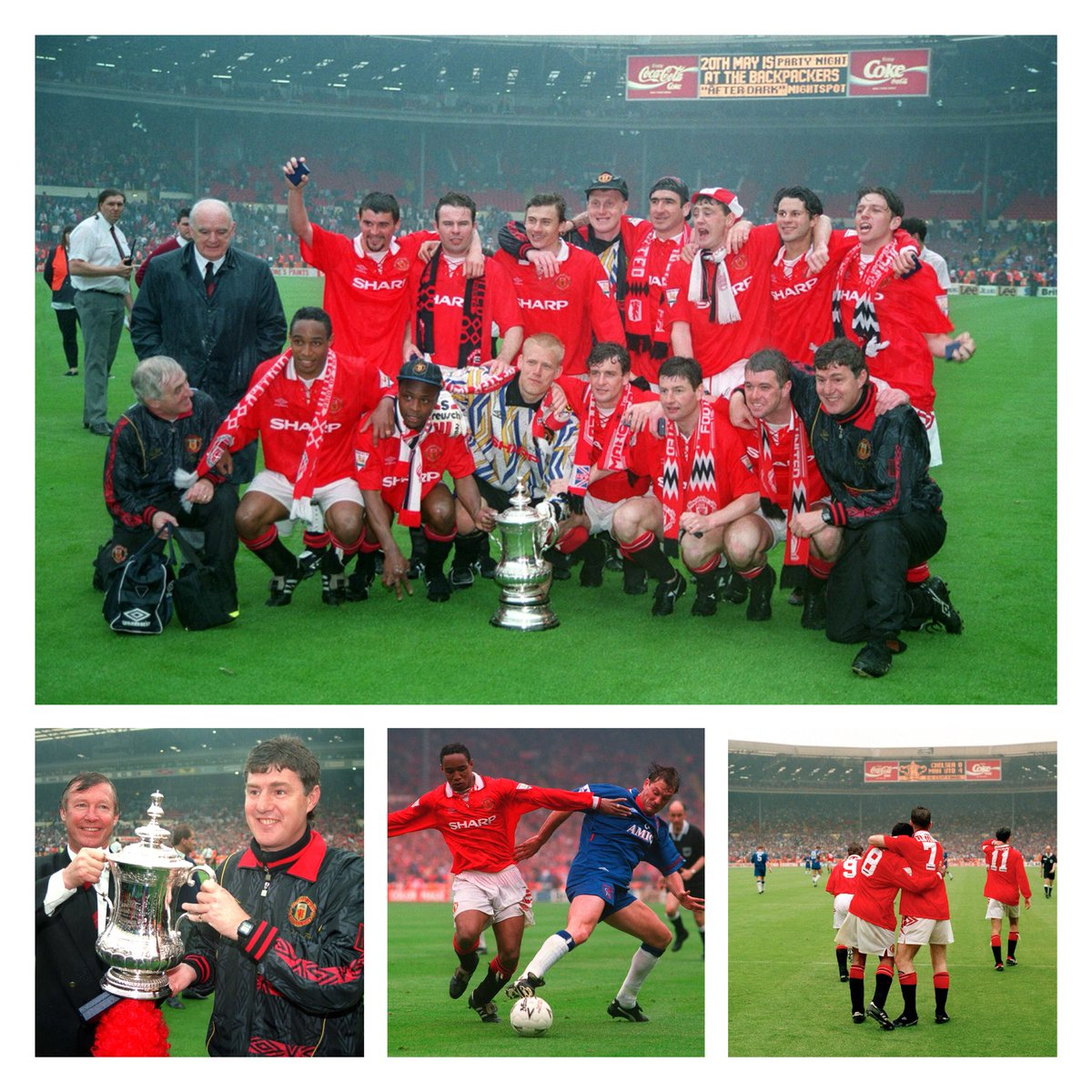 #TBT back in 1994 @ManUtd ran out 4-0 winners against @ChelseaFC in The FA Cup Final at the old #Wembley with a brace from King Eric. 👑🔥🏆🏟⚽️