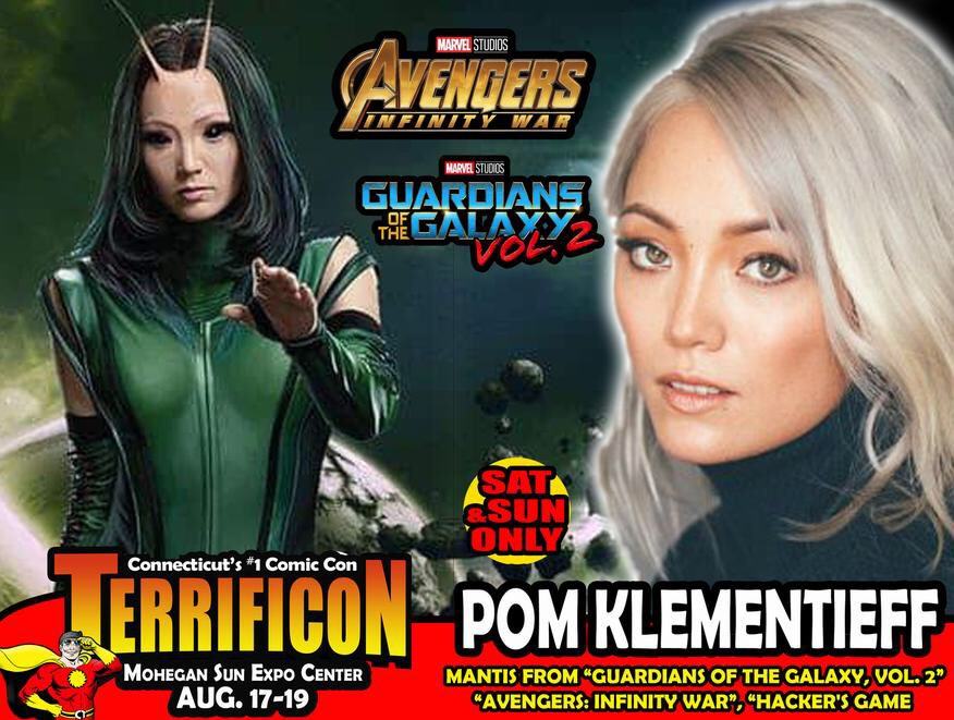 TERRIFICON welcomes actress @PomKlementieff who plays #Mantis  in #AvengersInfinityWars and #GuardiansoftheGalaxy2 to @MoheganSun this August in CT #Connecticut #Comicon2018 @conventionscene <br>http://pic.twitter.com/gf0UwY27gI