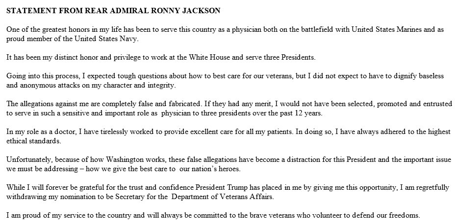 BREAKING: President Trump's pick to lead the VA, Dr. Ronny Jackson, withdraws his nomination. https://t.co/MENjlmRD27