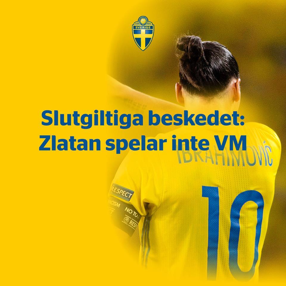 La fédération suédoise de foot l'annonce : Zlatan Ibrahimovic ne jouera pas la Coupe du monde 2018 🇸🇪