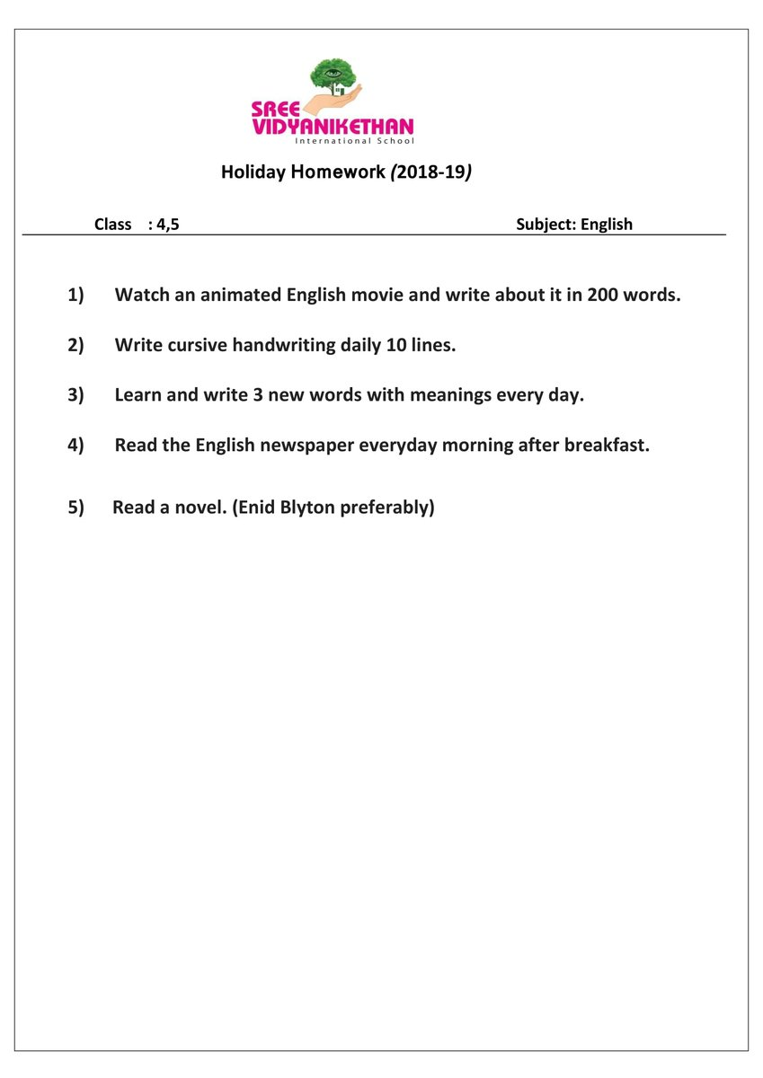 svis holiday homework 2017