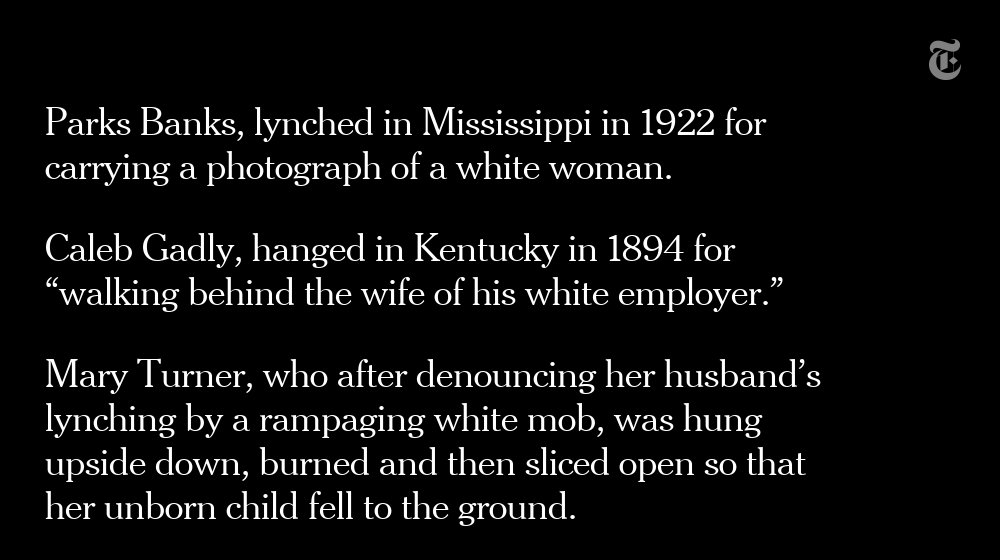 At the memorial in Alabama, some of the lynchings are described in brief summaries nyti.ms/2Jp4o6P