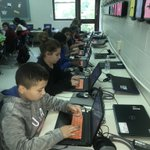 Image for the Tweet beginning: Fifth graders participating in the