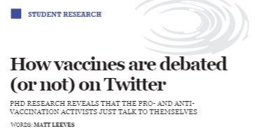 &quot;How vaccines are debated (or not) on Twitter&quot; - the article about my PhD research for UWE Science Matters is out (pp. 10-11)! HT @Leevesy_M  https:// issuu.com/scimatters/doc s/allpagesissue10finalissuu2 &nbsp; …  #scicomm #VaccinesWork @SciCommsUWE<br>http://pic.twitter.com/yozIynJfmk