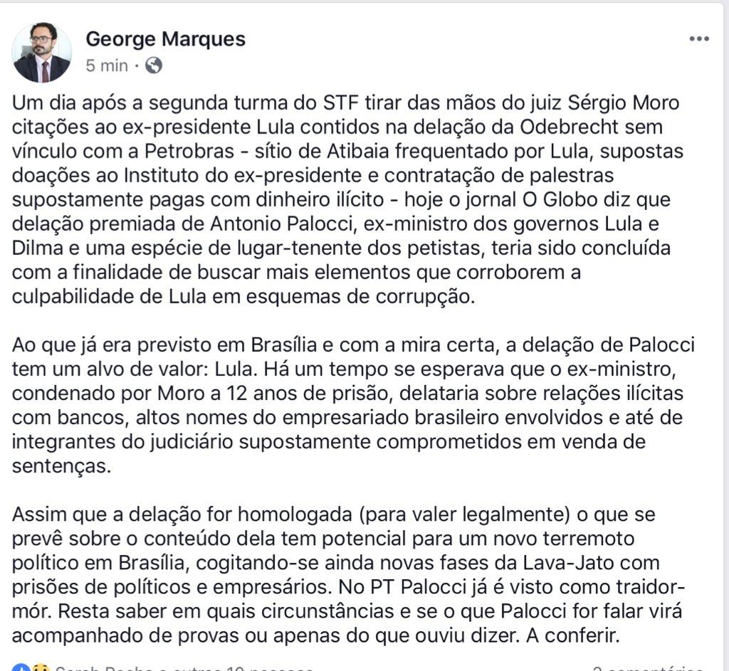Delação de Palocci preocupa grande parte do mundo político-empresarial e até o judiciário brasileiro. Apesar do alvo prioritário ser Lula, se o ex-ministro trouxer fatos novos baseados em provas - não no que ouviu dizer - vem mais terremoto político por aí