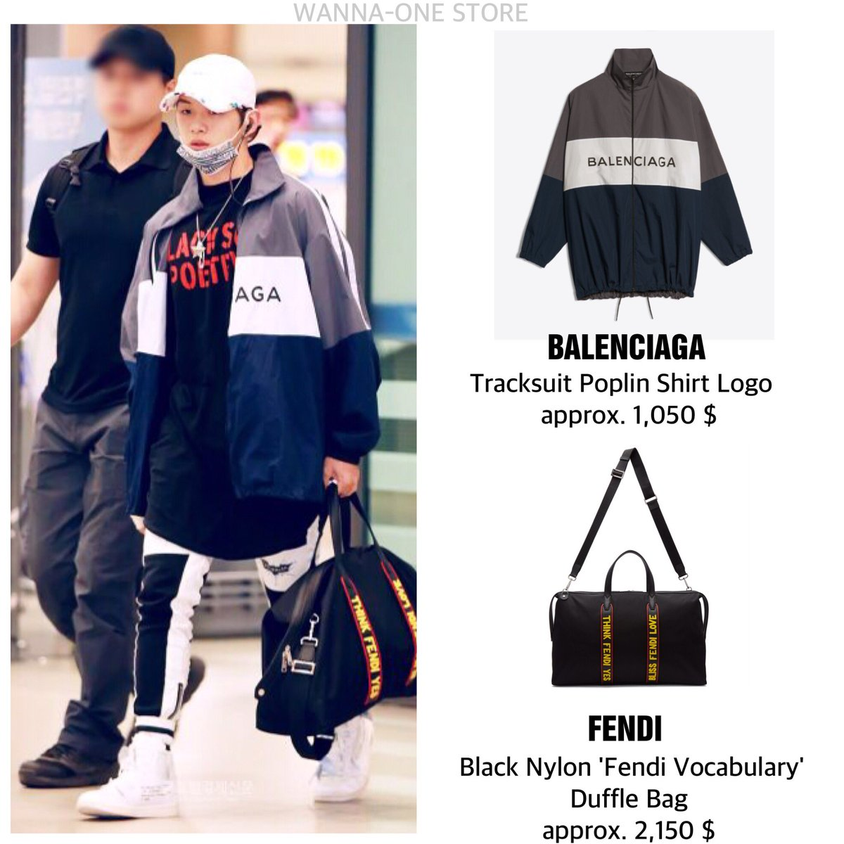 1,050   (Sold out online) FENDI   Black Nylon  Fendi Vocabulary  Duffle Bag  approx. 2,150   (Not available)  강다니엘  워너원  KangDaniel ... 8423b691be