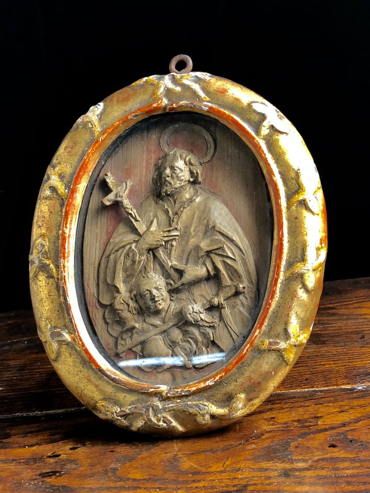 Antique framed boxwood carving of saint rich th century