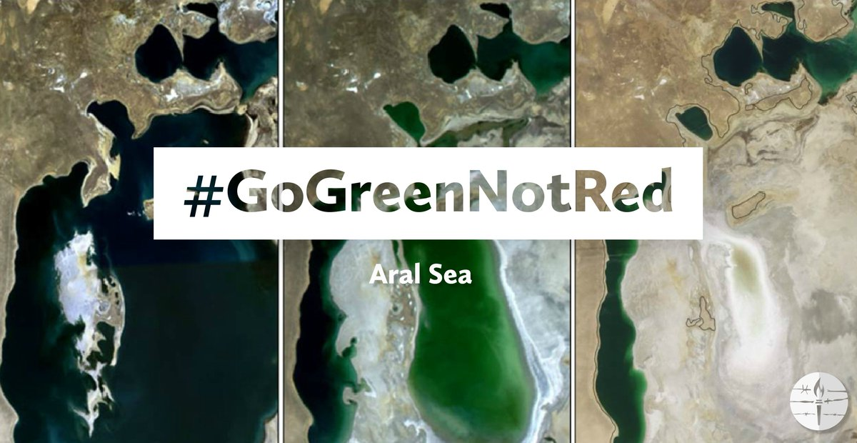 The Aral Sea was a lake located between Kazakhstan and Uzbekistan that began to vanish when Soviet engineers started to divert the rivers that sustain it to grow cotton in the desert. #EarthDay #EarthWeek #GoGreenNotRed #Environment  http:// bit.ly/2HMEfz6  &nbsp;  <br>http://pic.twitter.com/rDaWg0vpNr