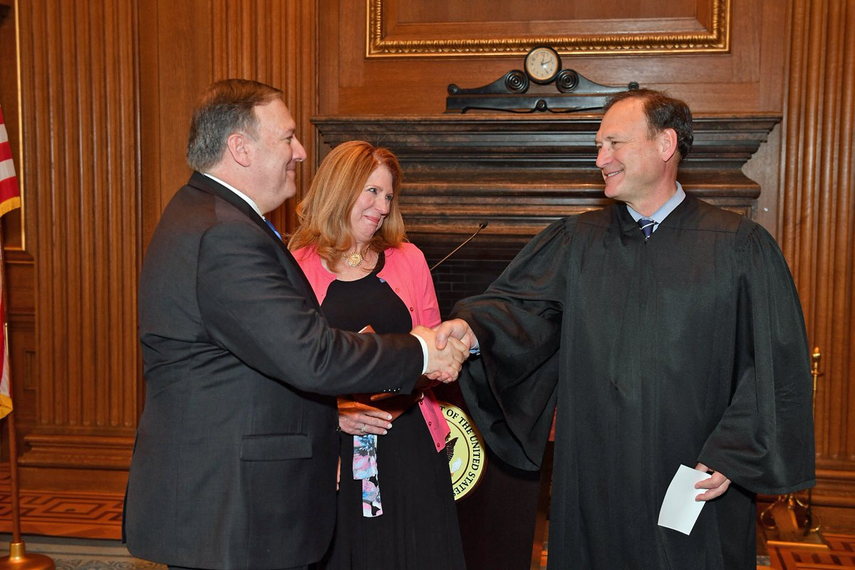 Today, Supreme Court Justice Samuel Alito swore in Mike Pompeo as America's 70th Secretary of State in the West Conference Room of the Supreme Court.