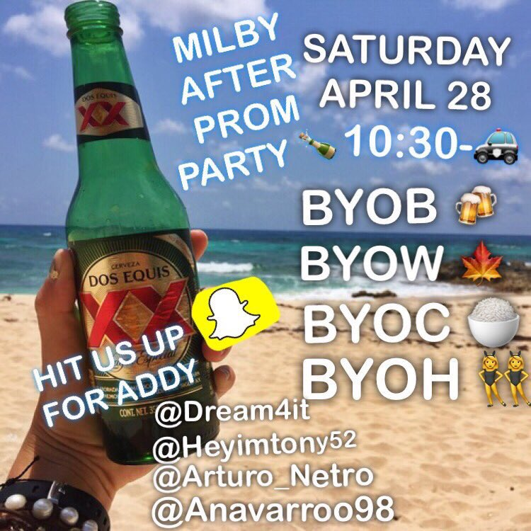 Milby Senior Prom After Party ��  Saturday pull up! ❌ No drama ❌ Hmu for addy https://t.co/daUrpygW0i