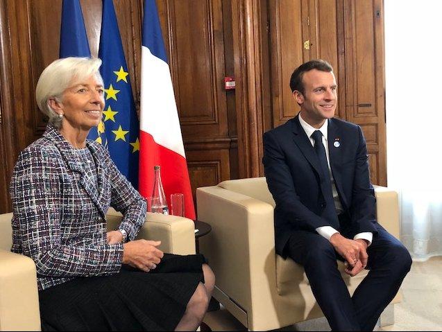 J'ai eu une excellente réunion avec le Président @EmmanuelMacron : nous nous sommes entretenus de la situation économique au niveau mondial, de l'importance de la coopération multilatérale, et du rôle du FMI, notamment dans la lutte contre le financement du terrorisme.