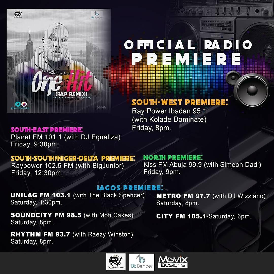 #realzsalert   NATIONWIDE PREMIERE for @RealSkillzMusiq new jam #OneHitRapRemix ft the legendary @cobhamsasuquo Catch the   #realzs #movement #realness #trueelevationofthemind #impact #hiphop #africanhiphop #music #realzville #lagos #nigeria #africa #world #worldmusic<br>http://pic.twitter.com/EdRT0c3Qze