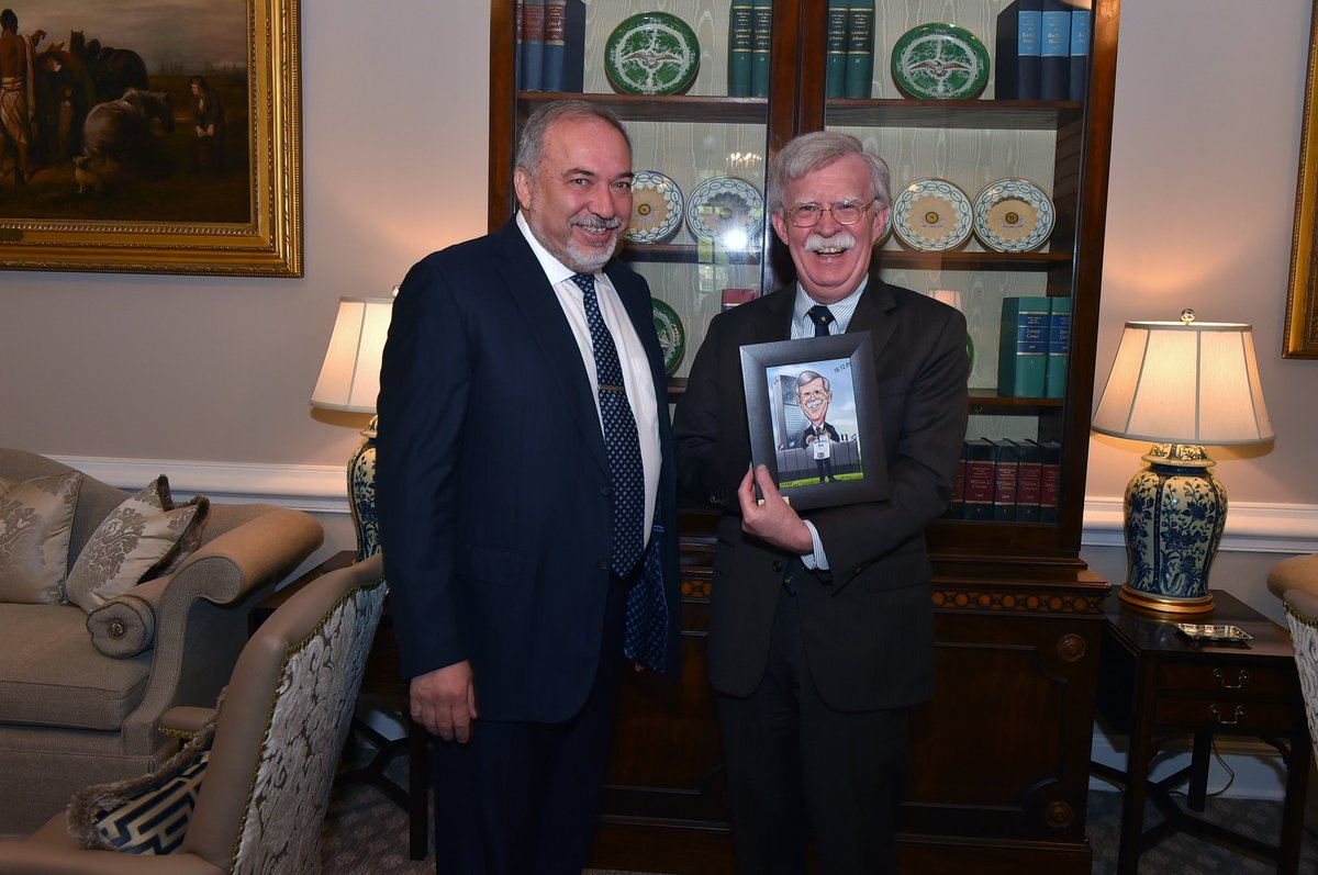 National Security Adviser John #Bolton given a caricature of himself tearing up the 1975 UN resolution declaring Zionism as racism, by #Israel&#39;s Defense Minister Avigdor Liberman. Bolton helped to repeal the resolution in 1991 and is popular among Israeli leaders @i24NEWS_EN<br>http://pic.twitter.com/G2e16XOeKl