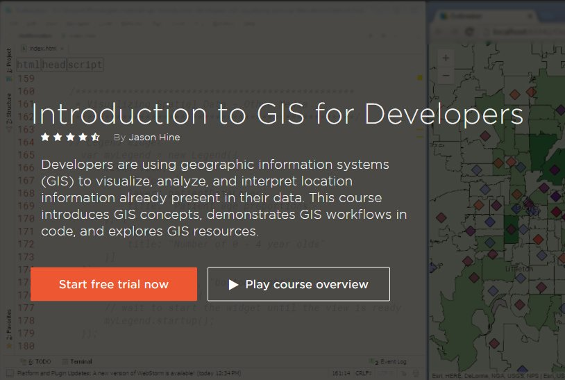 Guess what?! For #Developers and #CompSci students curious about #GIS, the Introduction to GIS for Developers course over @Pluralsight will be totally #free from 05/16 - 05/22! #Esri #geodev @GeoMentor @AAGGeoMentors   https:// app.pluralsight.com/library/course s/gis-introduction-developers/ &nbsp; … <br>http://pic.twitter.com/zxcegVwnpo