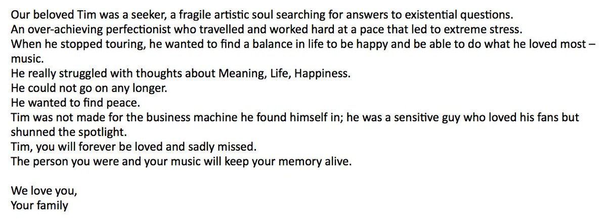 NEW: Family of EDM star Avicii, born Tim Bergling, releases statement following his death at the age of 28.  'Tim, you will forever be loved and sadly missed. The person you were and your music will keep your memory alive.' https://t.co/AJWRi1pHMK