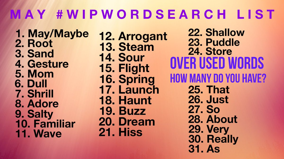 Hey, #writers here's May's #wipwordsearch List!  Search ur WIP for the word of the day, post the quote! Like/share ur favs! Please RT so ur fellow #authors can join the fun! #amwriting #amediting #writerslife #wip *this month we have an overused words awareness week* <br>http://pic.twitter.com/vFcMtVLY2n