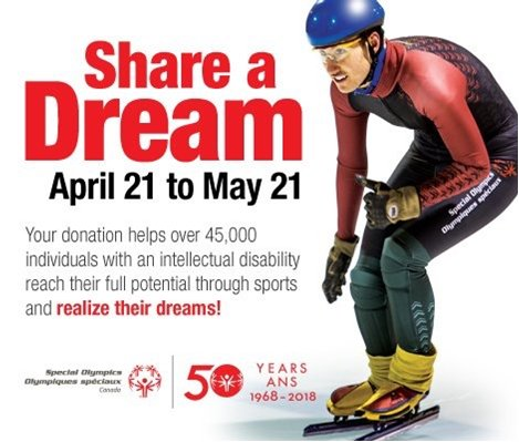 Support @SOOntario through @StaplesCanada&#39;s Give A Toonie/Share a Dream campaign! April 21 to May 21 visit your local Staples store to support #SpecialOlympics programs. Saturday April 28 visit the Staples store in #Bolton between 1pm to 3pm  and #ShareADream<br>http://pic.twitter.com/42ILk5mowu