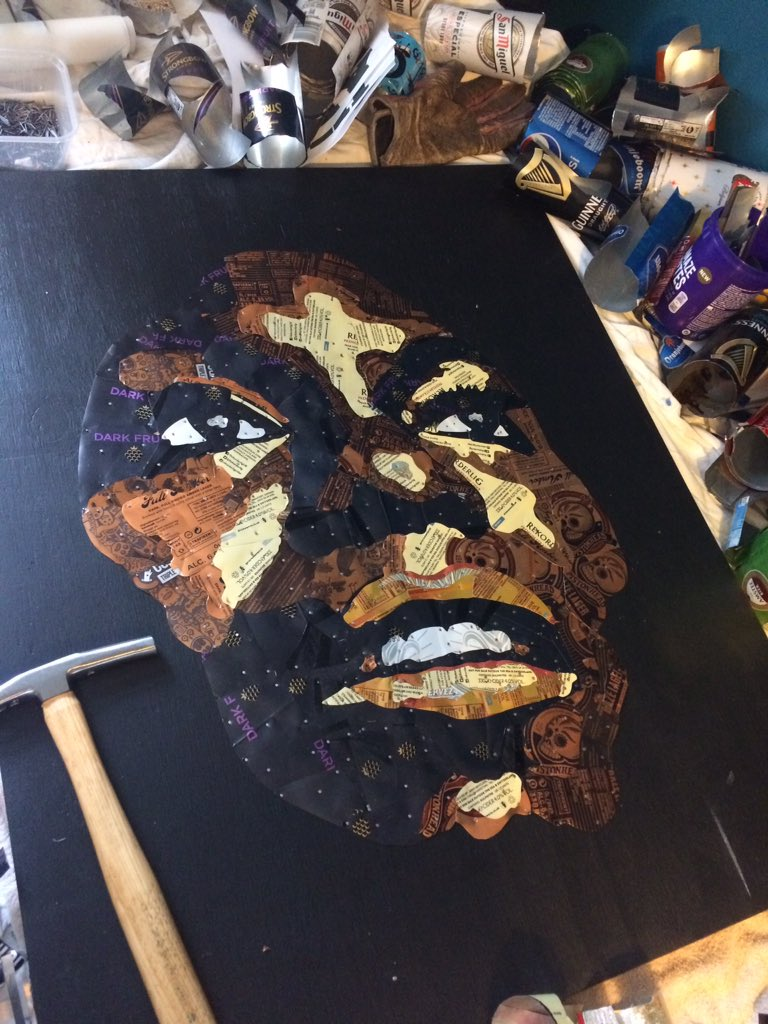 In progress. #ninasimone made using #recycled #beer and #cider #cans in #Nottingham<br>http://pic.twitter.com/ifeascw5ui