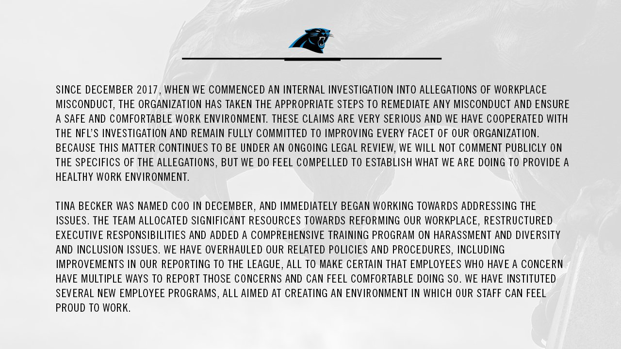 A statement from the Carolina Panthers https://t.co/OAJOF9CajH