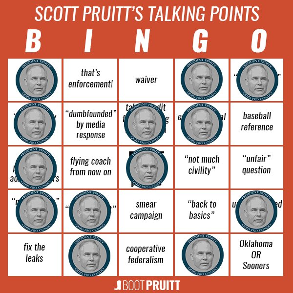 Getting closer to BINGO! #BootPruitt