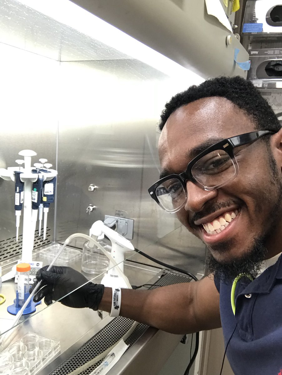 Just me and my good friends MCF7 breast cancer cells  This week I'm doing an immunofluorescence assay testing that my main protein of focus MMP9 is endogenous.  Spoiler Alert it is    #scicomm #phdstudent #phd #PhDlife #BlackMenSmilling #BLACKandSTEM #scientistswhoselfie<br>http://pic.twitter.com/NfHjwUM08g