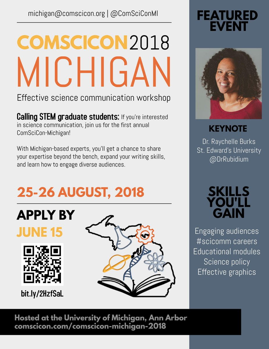 Are you interested in #scicomm?  Applications for the regional 2018 @ComSciConMI are open!  Applications due 6/15, convention runs 8/25-8/26.  Keynote: @DrRubidium. #SCIENCE #COMMUNICATION Details Here:  https:// comscicon.com/comscicon-mich igan-2018 &nbsp; … <br>http://pic.twitter.com/qR2Z0wU1u3