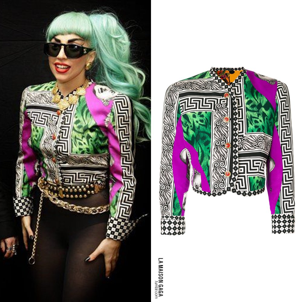 Lmg On Twitter Back In Time Lady Gaga Was Given The Title Printed Jacket With Sash Belt Wearing Vintage Versace S S11 Opera Print And Chanel Sunglasses Necklace Givenchy Earringspic Rpcbvionyl
