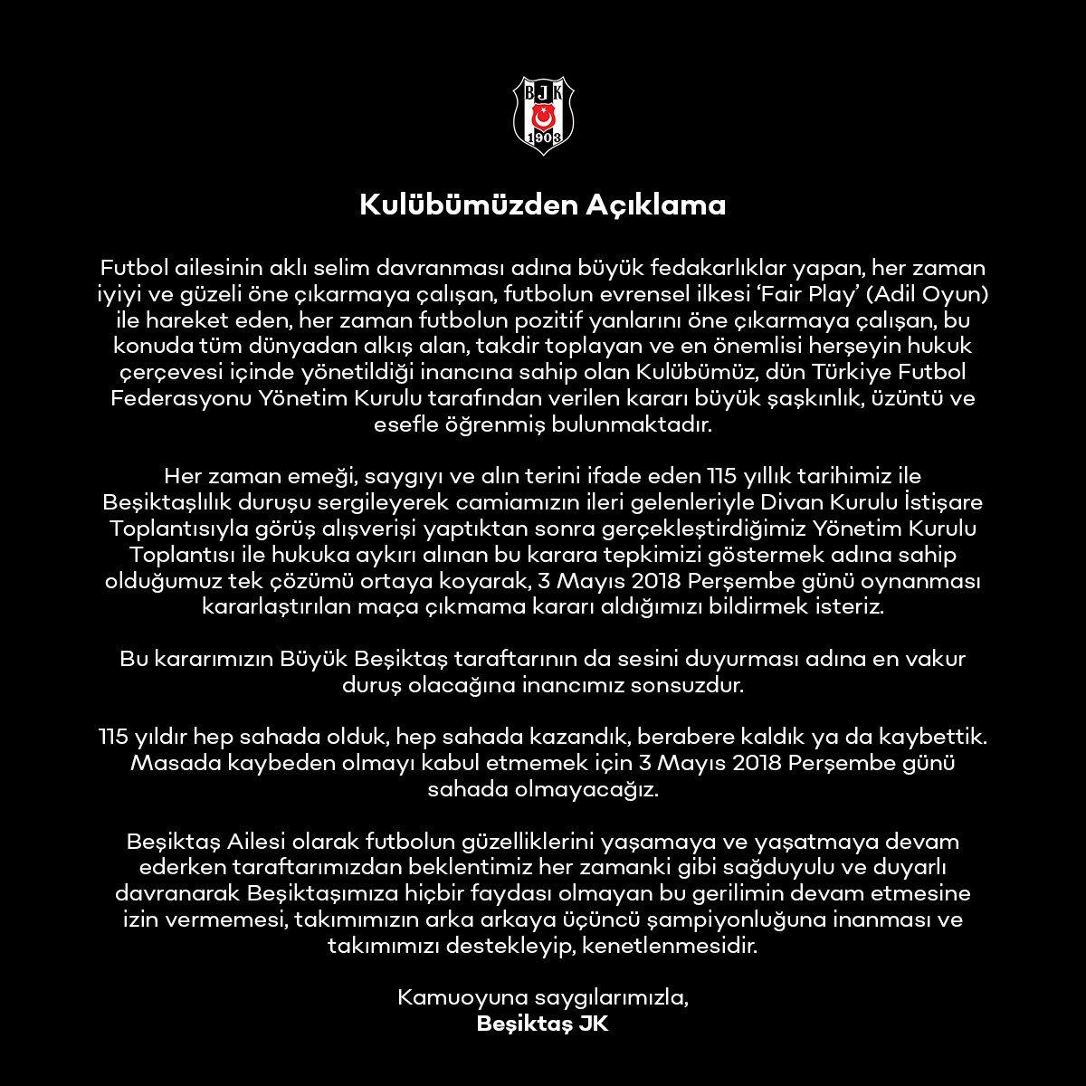 Kulübümüzden Açıklama bjk.com.tr/tr/haber/73262/