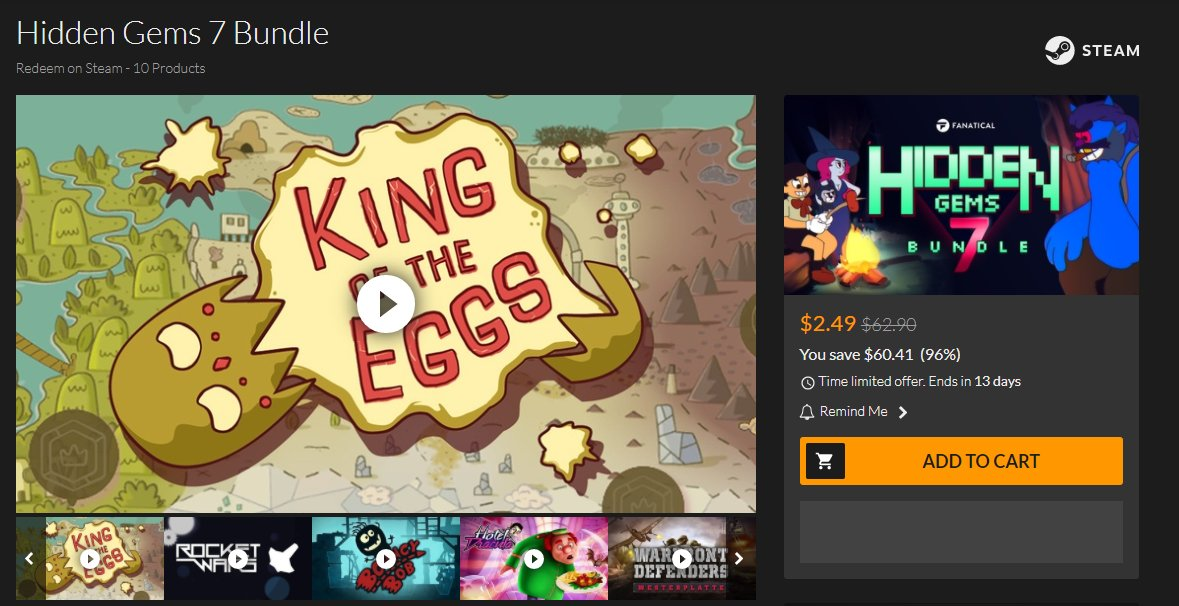 Did you know #KingOfTheEggs is on the @Fanatical Hidden Gems 7 #Bundle? Grab it plus other 9 awesome games at a very low price    https:// bit.ly/2JsfnMS  &nbsp;    #GameBundle #Fanatical #Cheap #IndieDev #IndieGame #GameDev #VideoGame #Discount #Free #Indie #GiveAway #Steam<br>http://pic.twitter.com/Wc0zZJvmqZ