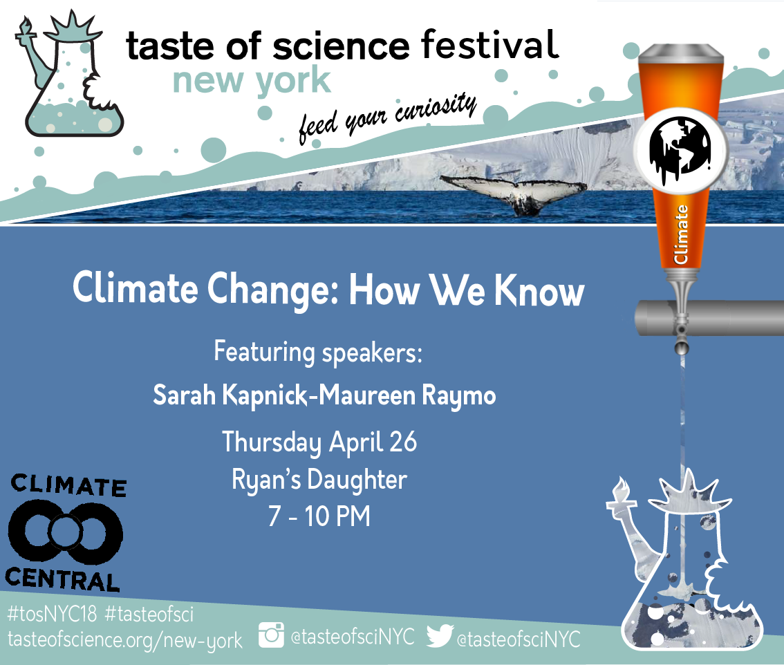 Tonight! Scientists have had the ability to predict #climatechange for decades, but how do they do it? Find out @ryansdaughterny with @Skapnick and @moraymo for our event co-hosted with @ClimateCentral @johnupton  #tosNYC2018 @tasteofsci #scicomm #feedyourcuriosity<br>http://pic.twitter.com/9iVcnffGOy