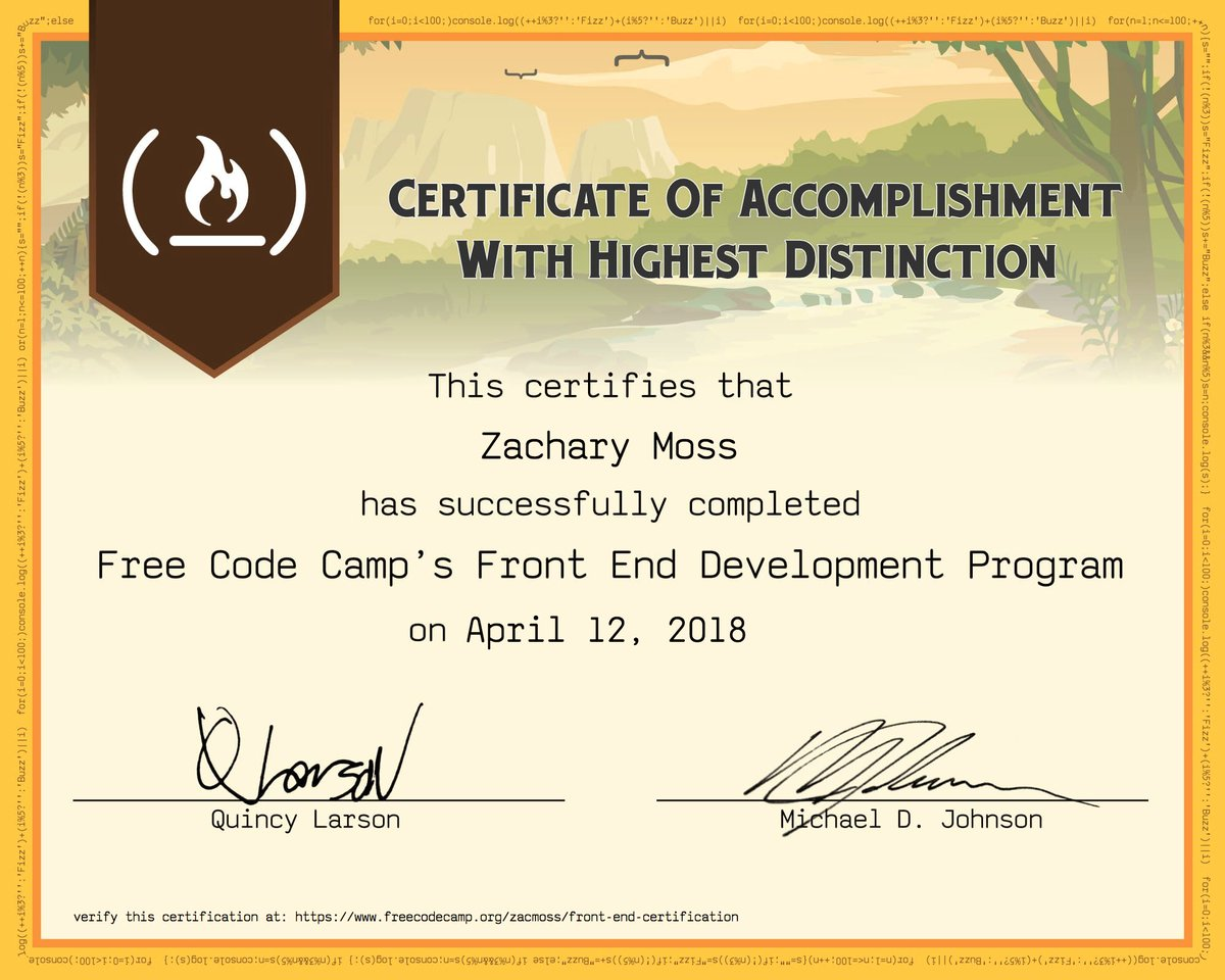 Zac On Twitter Completed The Front End Certification Through