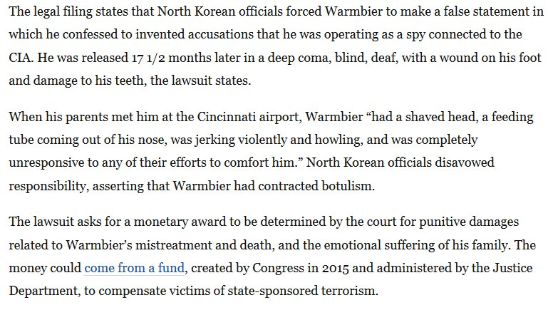 A devastating description of Otto Warmbier's condition when his parents met him at Cincinnati airport last summer. Their lawsuit against NK thrusts human rights back into spotlight ahead of Trum-Kim summit but could complicate denuclearization talks https://t.co/Rba09tJDkB