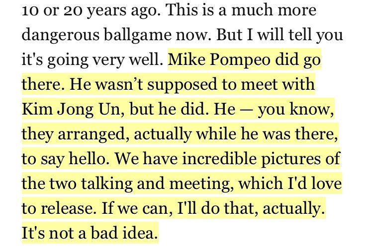 Why did the White House just today release photos of the Pompeo-Kim meeting? Well, Trump seemed to talk himself into doing that while rambling to Fox and Friends.