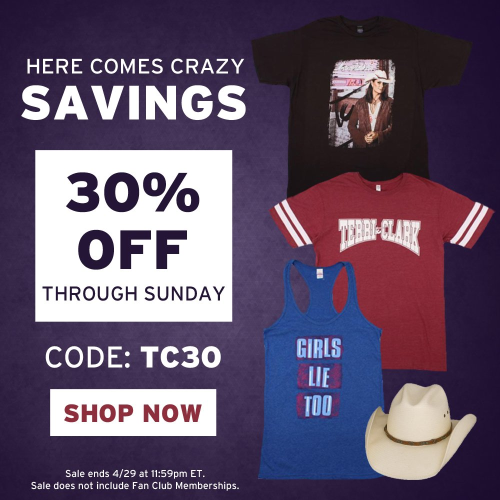 Today through Sunday take 30% OFF when you shop in the Terri Clark Online Store! Use code: TC30. Shop here: https://t.co/Nr403F7gKE