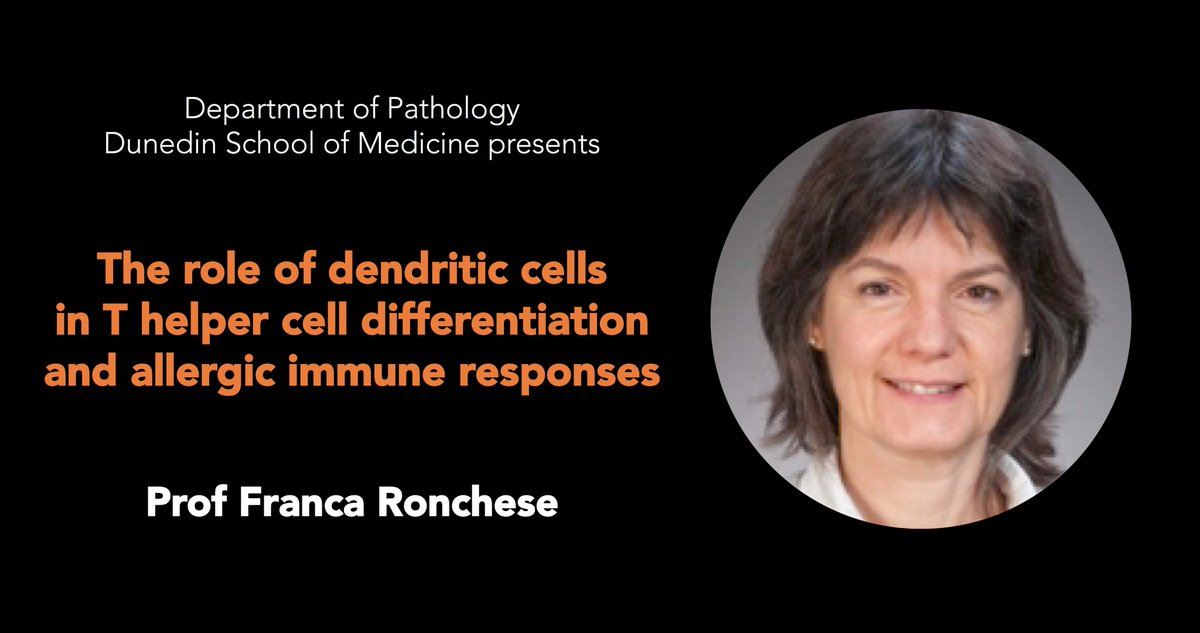 TODAY, 27th April - for the Department of #Pathology Seminar Series we are very pleased to host Prof Franca Ronchese @francaronchese @Malaghan_Inst #WomenInSTEM. 1pm in the Colquhoun Lecture Theatre, Dunedin Hospital @DSMOtago @otago.  https://www. otago.ac.nz/dsm-pathology/ research/otago675360.html &nbsp; …  … …<br>http://pic.twitter.com/2gwZw1wGQo
