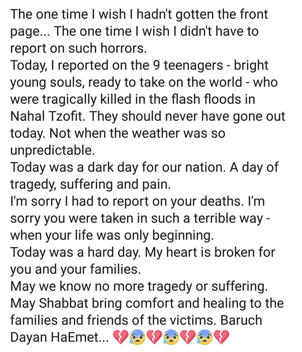 My feelings after reporting about today&#39;s horrors at Nachal Tzafit... Kudos to the heroes of @Mdais, @IDFSpokesperson, @IL_police and @ZAKA_Israel for dealing with this tragedy in such an incredible way!  #Israelstorm #Israel #Flashflood #Zaka<br>http://pic.twitter.com/lfVFGIQWXn