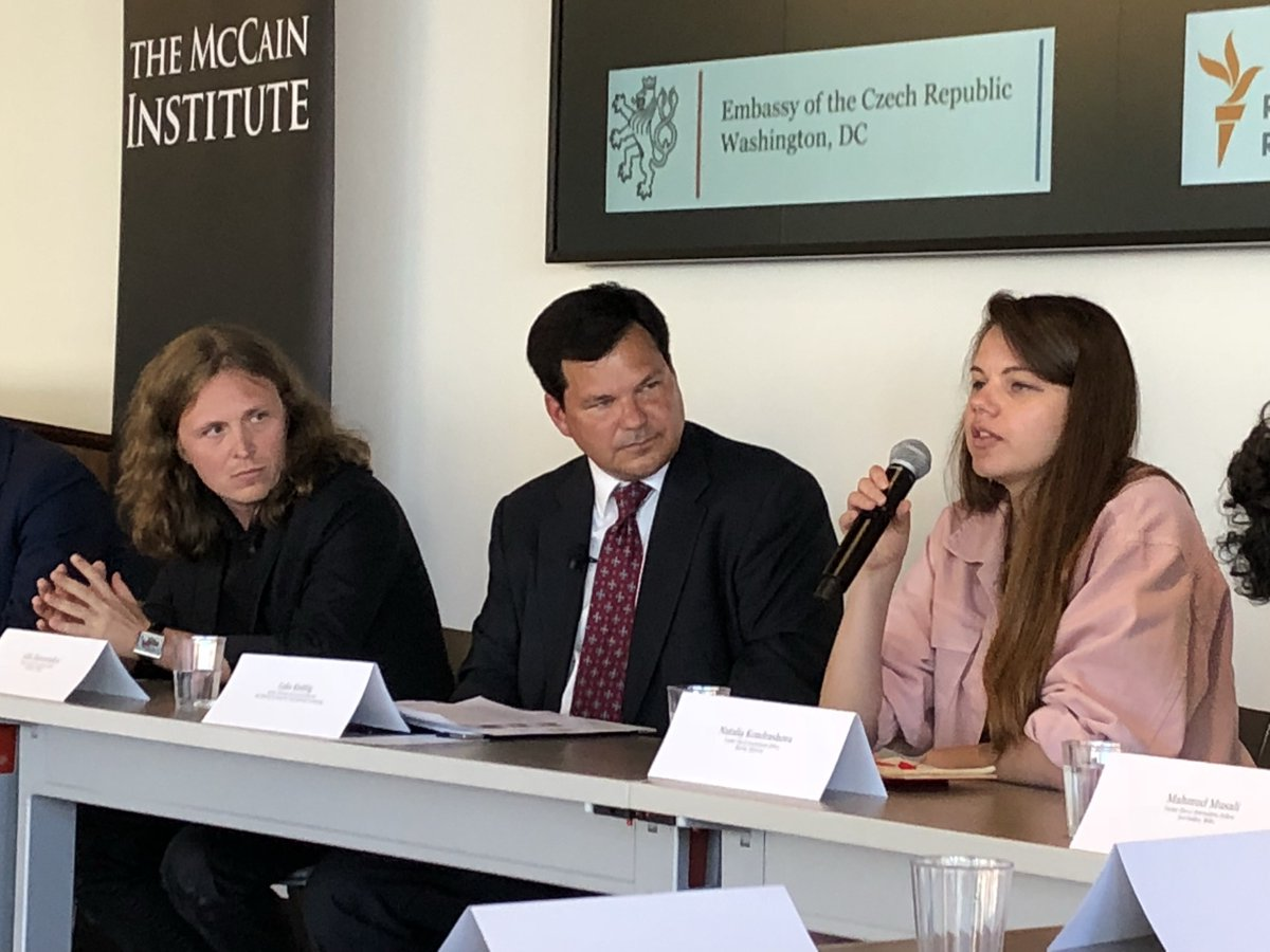 Journalists from E. Europe say that small media outlets must be careful in what they say about government lest they be labeled enemy of state and funding or other support is pulled @McCainInstitute #journalism #muzzledmedia<br>http://pic.twitter.com/cfpc3lqR5e