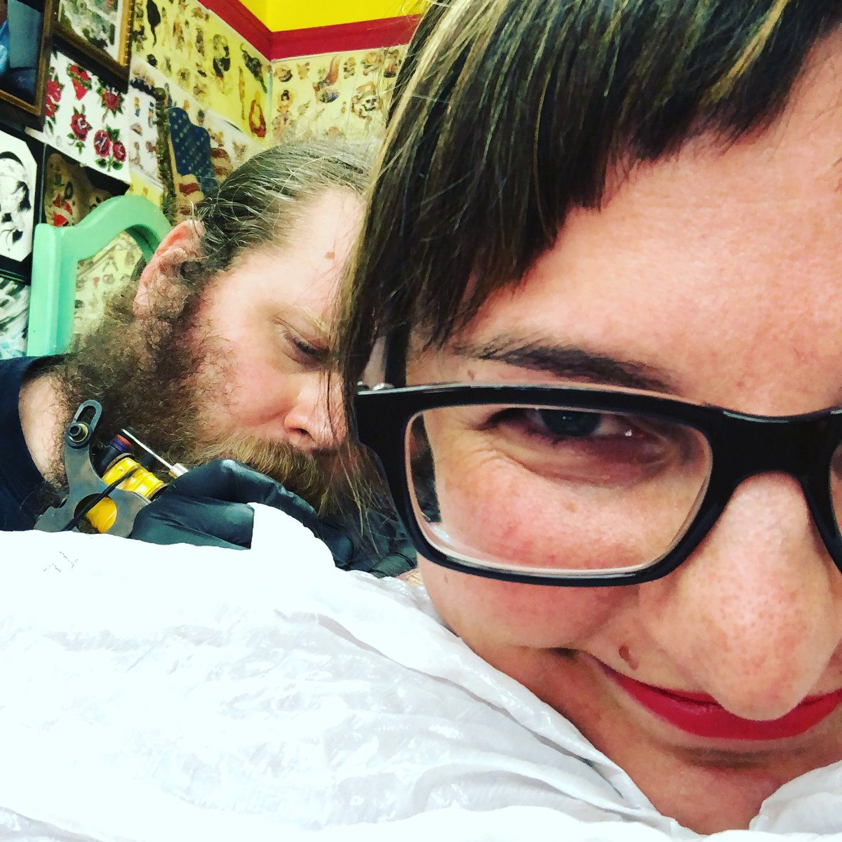 """Sitting here getting a #BlueWave tattoo (to symbolize the power we're building around the US.) It hurts, but my phone is blowin' up w/ news of friends rec'g the #labor endorsement &amp; #teachers standing up to say, """"NO!"""" so it's all smiles over here   #RedForEd #PeoplePower<br>http://pic.twitter.com/tIAeo7ZH8z"""