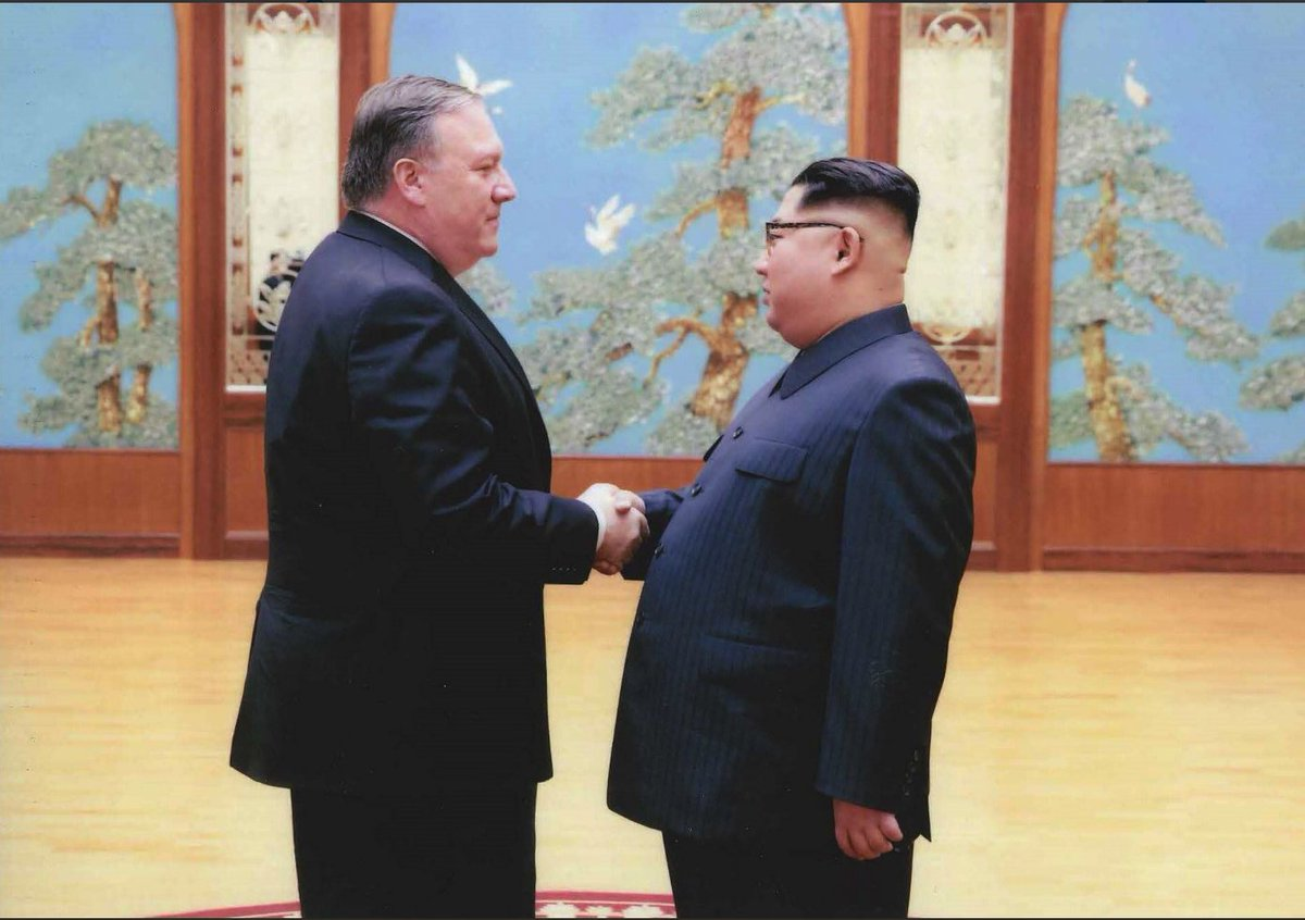 Just after Mike Pompeo was sworn in as Secretary of State, @PressSec Sarah Sanders posted photos of Pompeo with DPRK leader Kim Jong Un from a previous trip. Sanders wrote: He will do an excellent job helping @POTUS lead our efforts to denuclearize the Korean Peninsula.