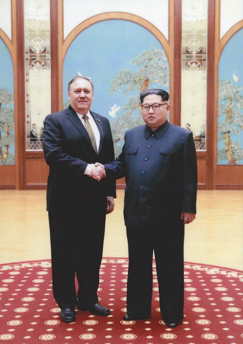 Dove of peace flying between Pompeo and Kim Jong Un.   North Koreans certainly trying to send a friendly message.