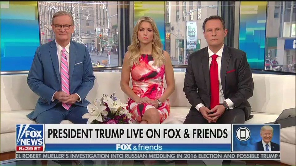 WATCH: As Trump fumbles on live TV, Fox & Friends abruptly ends disastrous interview https://t.co/g5pvhloHPC https://t.co/QMCYCqIKDu