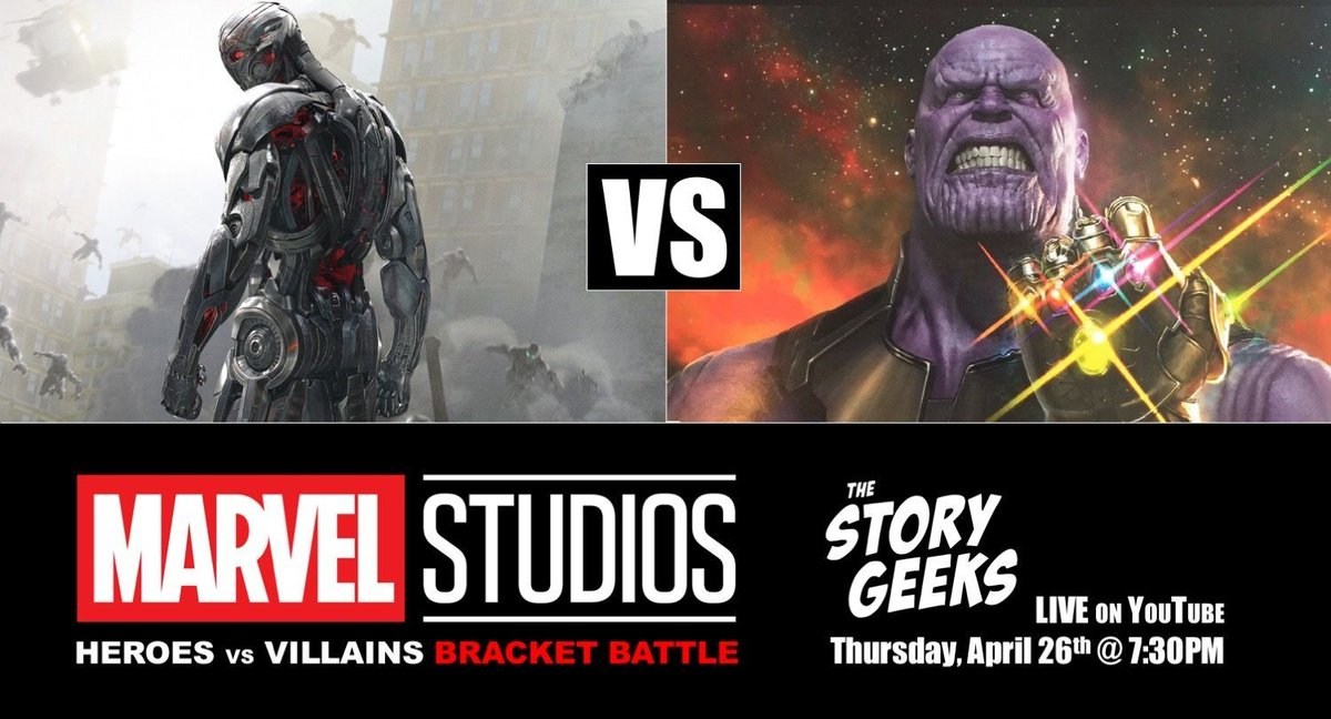 Who is a better villain, #Ultron or #Thanos ?  Get your #MCUHeroesVsVillainsBracket here --&gt; https:// buff.ly/2Jp0ElI  &nbsp;   Then come vote here at 7:30 p.m --&gt; https:// buff.ly/2HNhfTl  &nbsp;    #ThanosWins #Avengers #AvengersInfinityWars #BracketChallenge #bracket #Marvel #Villains<br>http://pic.twitter.com/q4pbahHHPx