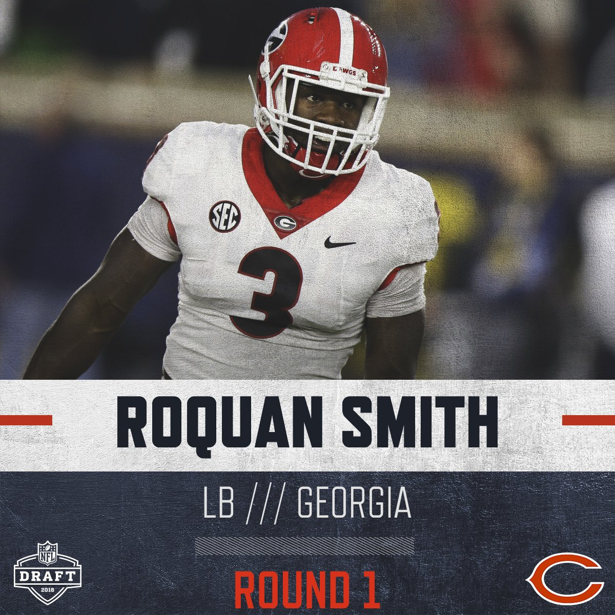 With the #8 pick in the 2018 #NFLDraft, we select… Roquan Smith, LB, Georgia. Welcome to Chicago, @RoquanSmith1. 🐻⬇️ #BearsDraft
