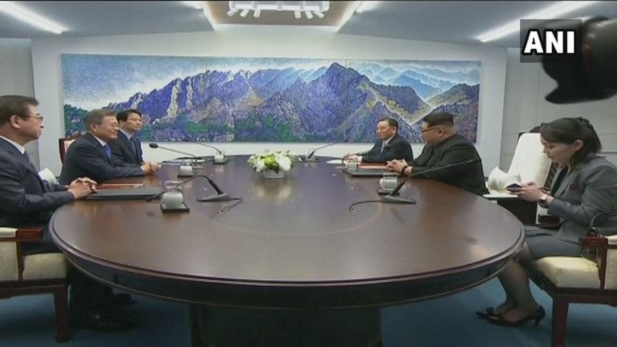 Panmunjom: Inside visuals of the meeting between North & South Korean leaders for summit talks on the North's nuclear weapons. #SouthKorea