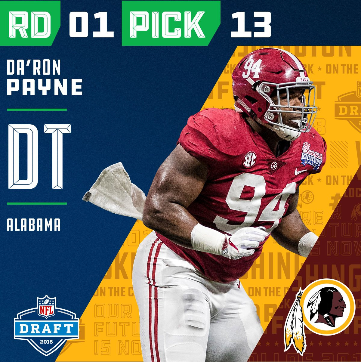 With the #13 overall pick in the 2018 #NFLDraft, the @Redskins select #DaRonPayne!  ��: NFLN/FOX/ESPN https://t.co/Hk1Mi1u8jr