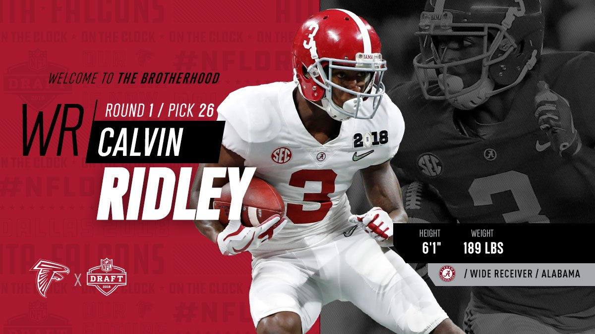 Atlanta Falcons On Twitter We Have Taken Alabamaftbl Wr Calvin Ridley With The 26th Pick Welcome To The Brotherhood Calvinridley1 Inbrotherhood Https T Co Vym5n8k8dl